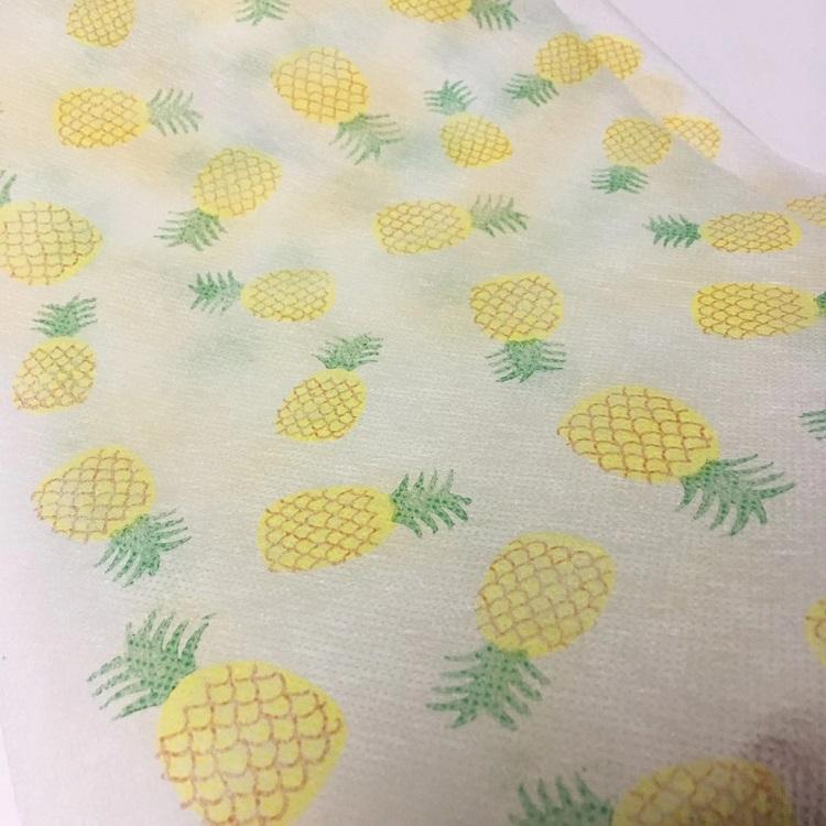 工厂现货 印花无纺布 菠萝图案